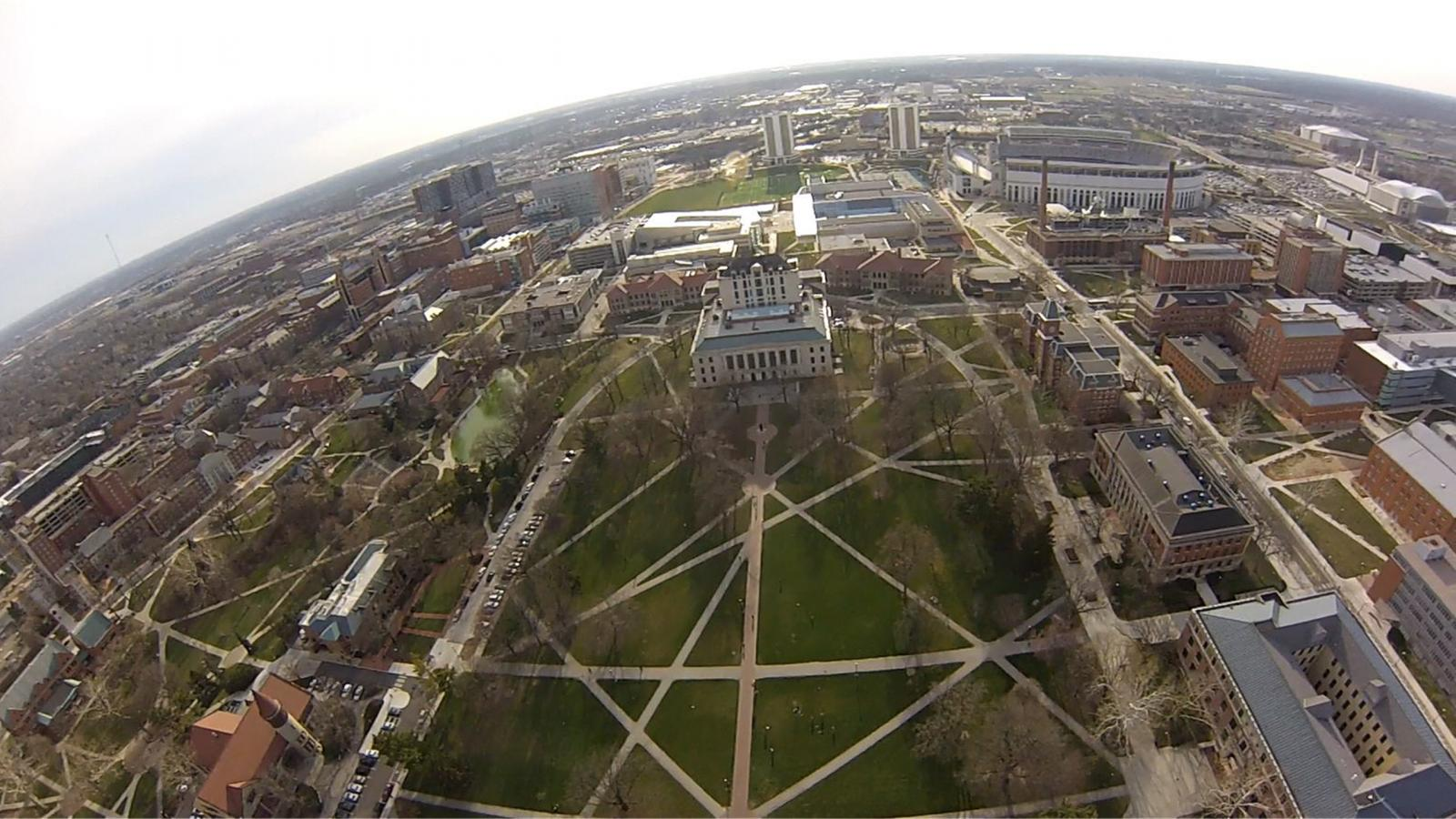 The Ohio State University Oval from above, with our Tethersonde.